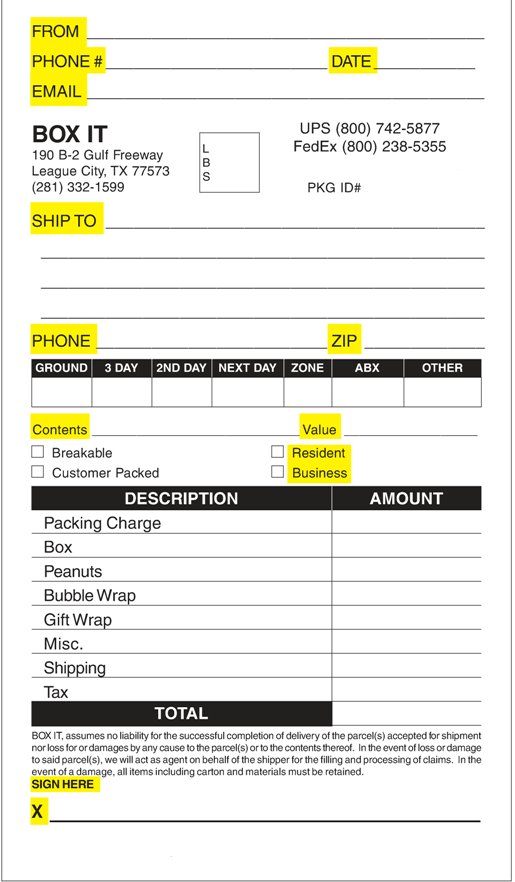 Shipping Form SM